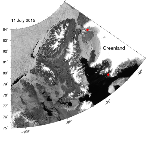 Image of northern Greenland (top right) and Ellesmere Island (center) showing open water as black, land as gray, and sea ice as gray/white. The two red dots are Thule Air Force Base in the south and Petermann Glacier in the north. Note the bands of black water along the coast of Ellesmere Island that result from east to west blowing winds that move ice offshore.
