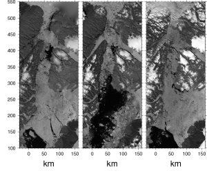 Nares Strait ice cover in July of 2015 (left), 2014 (center), and 2013 (right) from MODIS Terra.