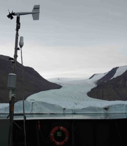 Meterologic station aboard the ship.  The ice of Greenland in the background.
