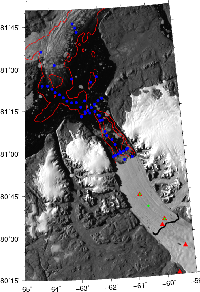 "Map of Greenland's Petermann Gletscher, Fjord, and adjacent Nares Strait. The UDel Ocean-Weather station is the green dot on the floating ice shelf that does not have a red triangle. Blue dots in the ocean are where we collected ocean data from I/B Oden in August 2015. Green dots are ocean moorings which report via Iridium while red triangles are ""fancy"" GPS locations we instrumented for 12 days to measure vertical tidal elevations of the glacier."