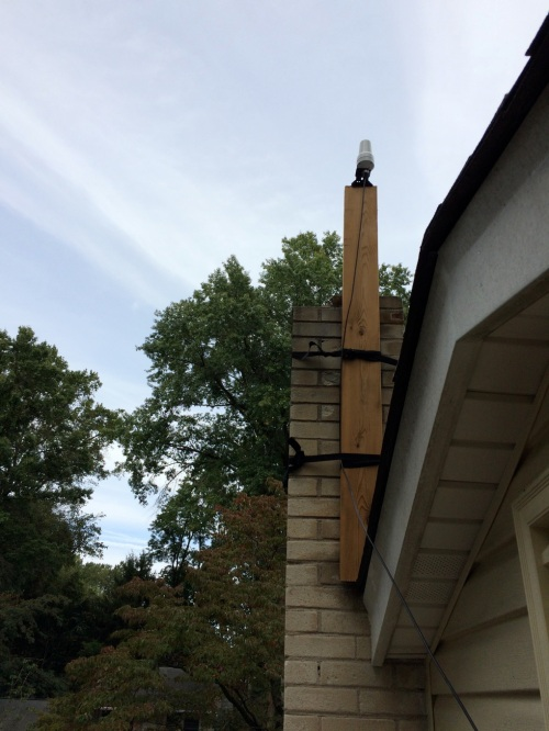 Iridium antenna atop my house in Newark, Delaware that receives data calls from Greenland.