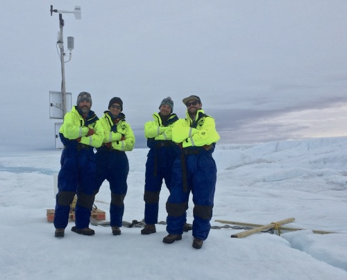 University of Delaware Ocean-Weather station on Petermann Glacier with the hot-water drilling team UDel and British Antarctic Survey after deployment Aug.-20, 2015 [Credit: Peter Washam, UDel]