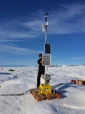 University of Delaware Ocean Weather Station 13 km seaward from the grounding zone of Petermann Gletscher [Credit: Peter Washam]