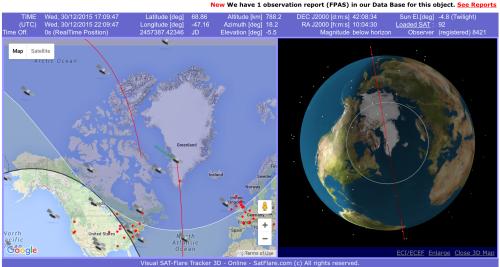 Screen shot of Iridium satellite orbits observed in real-time from http://www.satflare.com/track.asp?q=iridium