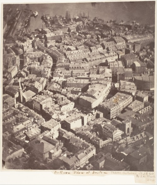 Aerial photo taken Oct.-13, 1860 of Boston, MA by J.W. Black.