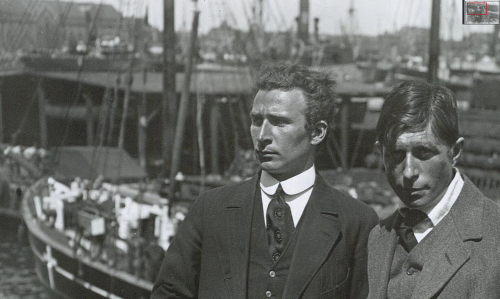 Knud Rasmussen (right) and Lauge Koch (left). [Photo: Holger Damgaard, National Library of Denmark.