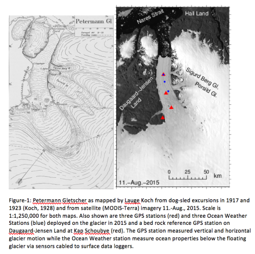 Maps of Petermann Gletscher by Lauge Koch from 1917 and 1921 dog sleds and 2015 from MODIS-Terra.