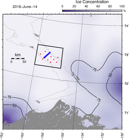 Ice concentrations from SSM/I to the north of norther Alaska with planned mooring locations across the sloping bottom. The 100 and 1000 meter contours are shown in gray with blue and red symbols representing locations of ocean and acoustic sensors, respectively.