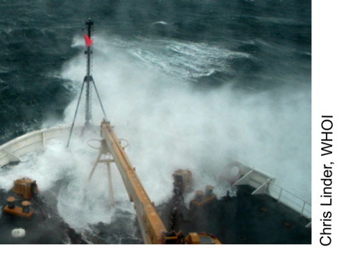 Icebreaker taking on waves on the stern during a fall storm in the Beaufort Sea in October 2004. [Photo Credit: Chris Linder, Woods Hole Oceanographic Institution]
