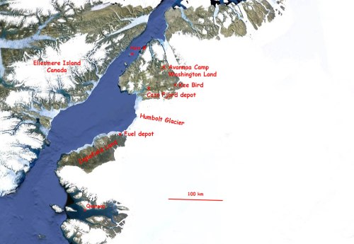 Location of Kee Bird and other landing sites in North Greenland near Petermann Gletscher. [From Forum]