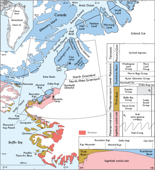 "Dawes (2004): ""Simplified geological map of the Nares Strait region ..."" from Thule Air Force Base in the south to the Arctic Ocean in the north with Petermann Gletscher in the center of the top half."