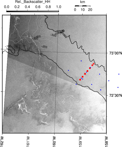 Map northern Chukchi Sea with mooring locations (red and blue symbols), contours of bottom topography, and radar backscatter from space.
