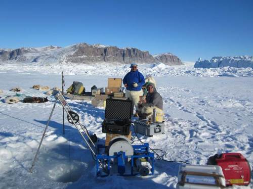 Working on the sea ice off northern Greenland [Photo credit, Steffen Olsen]