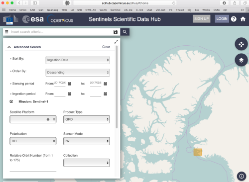 Screenshot on how I search for the Sentinel-1 SAR-C DATA.