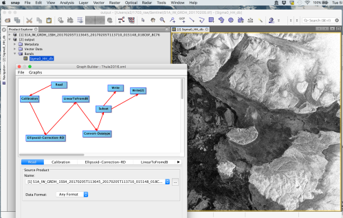 Screenshot of SNAP software and processing with [1] input and [2] output of the Feb.-5, 2017 data from Wolstenholme Fjord.
