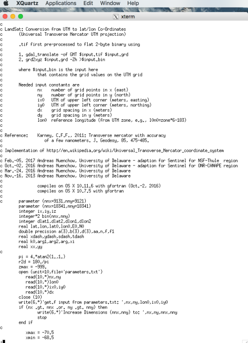 Start of Fortran code to covert the SNAP output geotiff file into an ascii file with latitude, longitude, and backscatter as columns. The code has 143 lines plus 80 lines of comment.