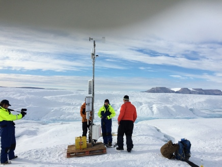 Petermann Glacier Ocean Weather station on 27 August 2015 after it was established the week prior during the US-Sweden expedition to Petermann Fjord.