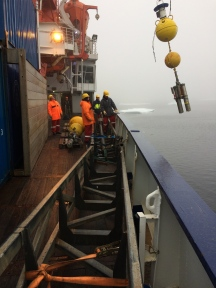 University of Delaware mooring hoisted onto the deck of R/V Polarstern on Sept.-29, 2017.