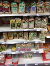 Muesli offerings in a supermarket in Bremerhaven.