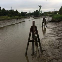 The river Geeste at low tide that runs through Bremerhaven before discharging into the Wester Estuary.