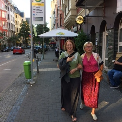 Dragonfly and Christa after watching the World Cup Final in bar within walking distance of our new appartment in July 2018.