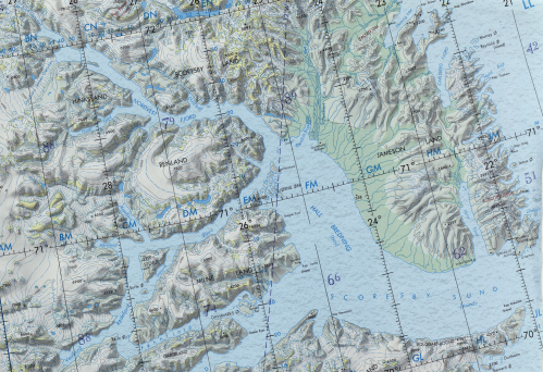 Location Map of Scoresby Sund. Kap Brewster is at bottom right while Daugaard-Jensen Gletscher 360 km away is near the top left.